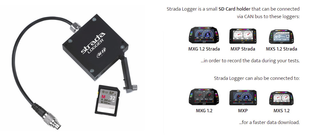 Strada Logger is a small SD Card holder that can be connected via CAN bus to these loggers
