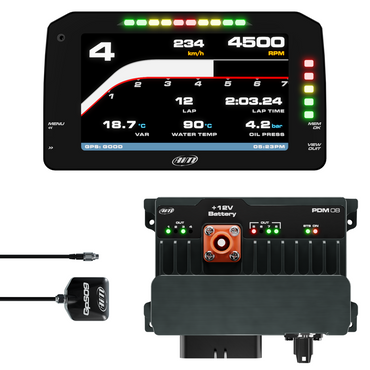 "AiM PDM08 With 6"" Race Icons Display GPS Data Logging Kit"