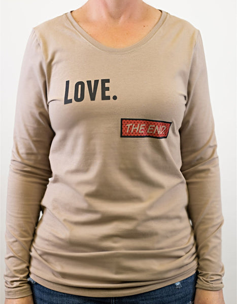 """Love--The End"" long-sleeved women's cut tee"