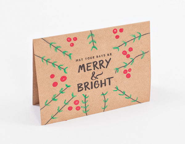 "Handmade Cards - ""May Your Days Be Merry and Bright"" (pack of 10)"