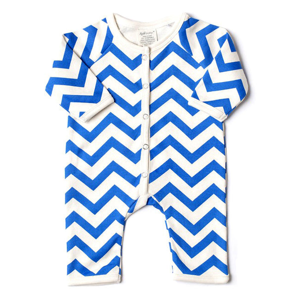 Long Romper - Blue Chevron