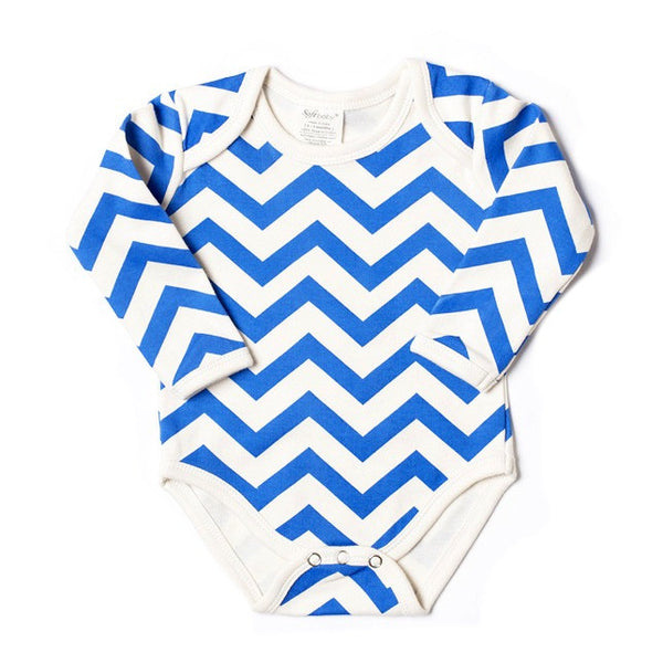 Long Sleeve Onesie - Blue Chevron