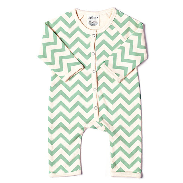 Long Romper - Green Chevron