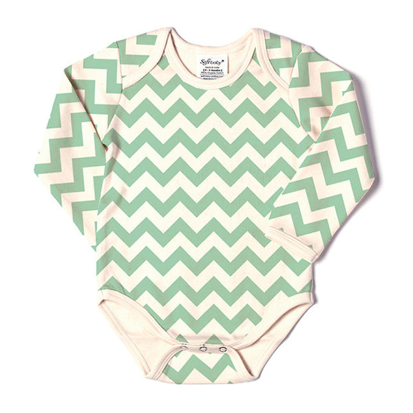 Long Sleeve Onesie - Green Chevron