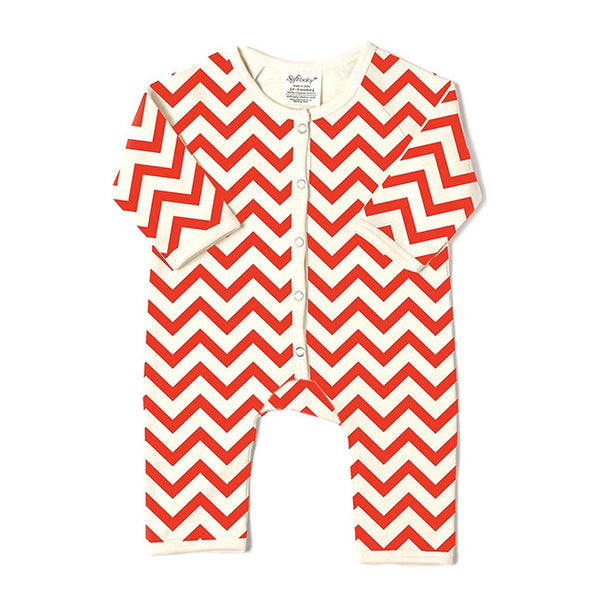 Long Romper - Red Chevron