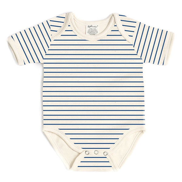 Short Sleeve Onesie - Blue Stripes