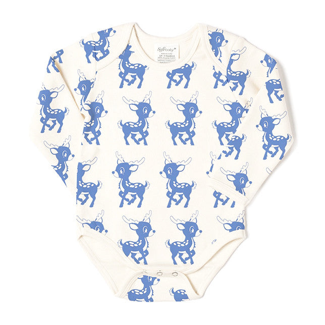 Long Sleeve Onesie - Blue Deer