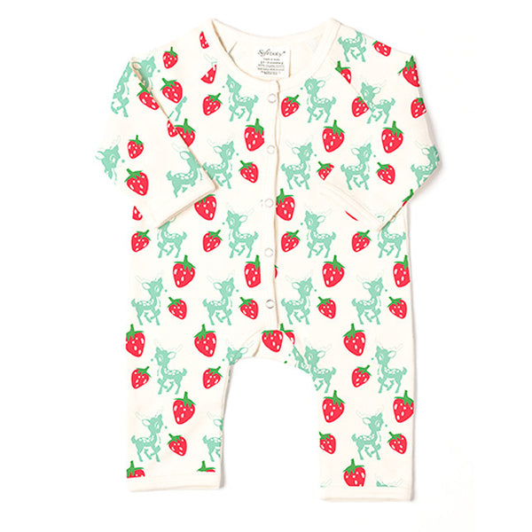 Long Romper - Deer & Strawberries