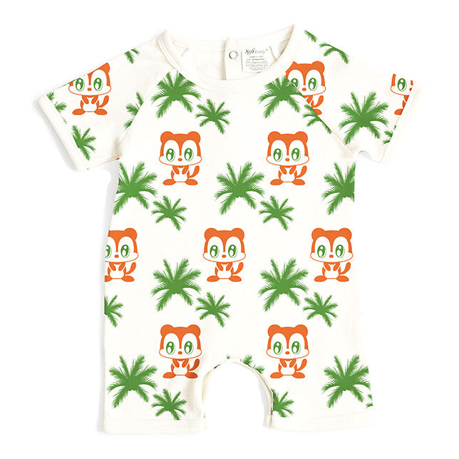 Monkey & Trees - Short Romper - 100% Organic