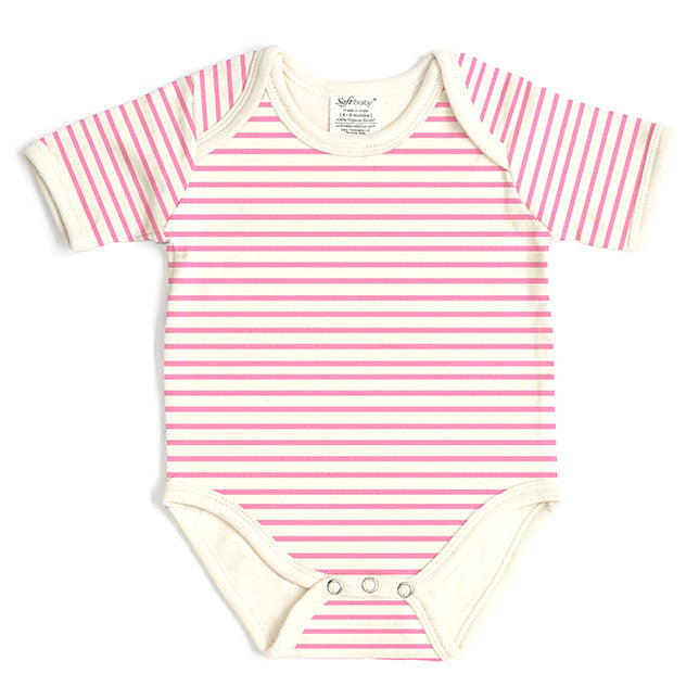 Short Sleeve Onesie - Pink Stripes