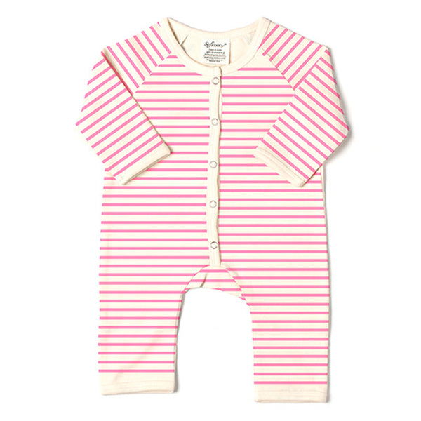Long Romper - Pink Stripes