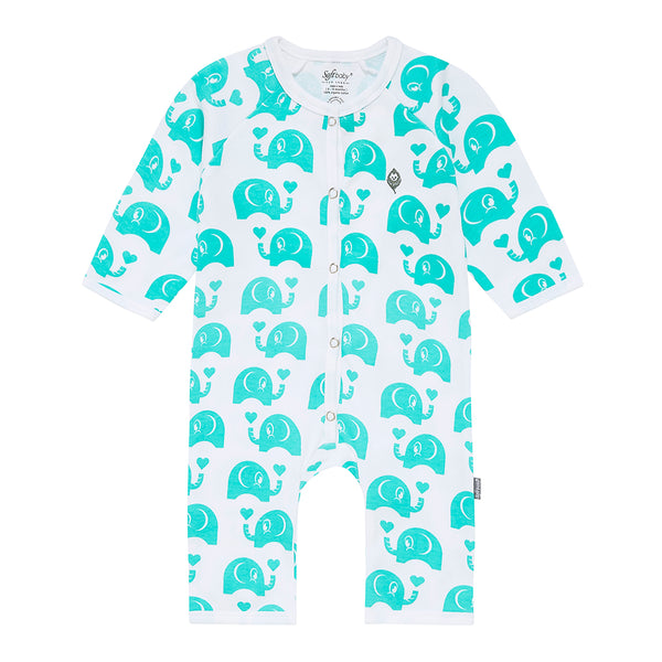 Green Elephant Long Romper