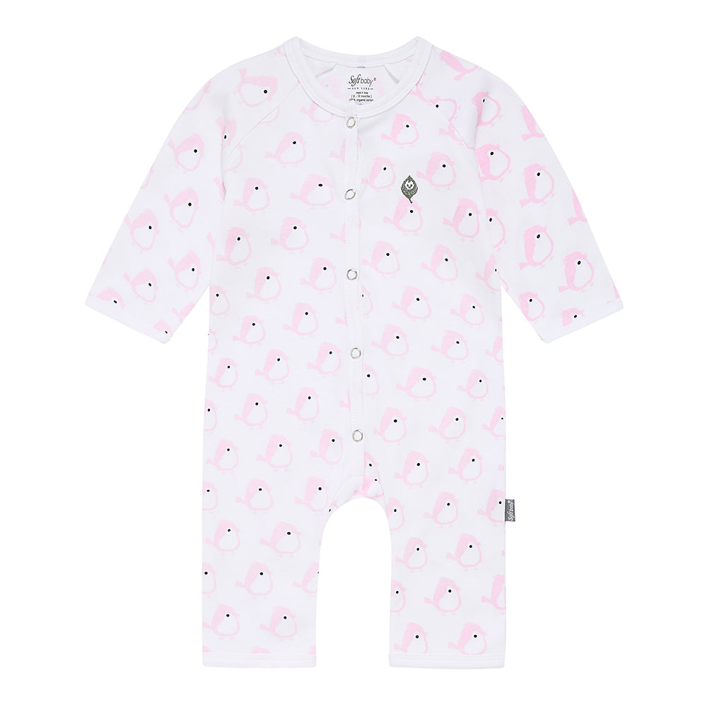 The Pink Birdie -  Long Romper - 100% Organic