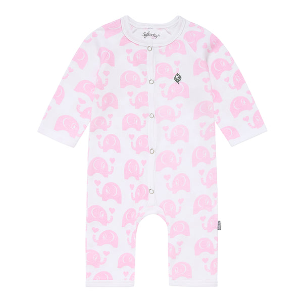 Pink Elephant Long Romper