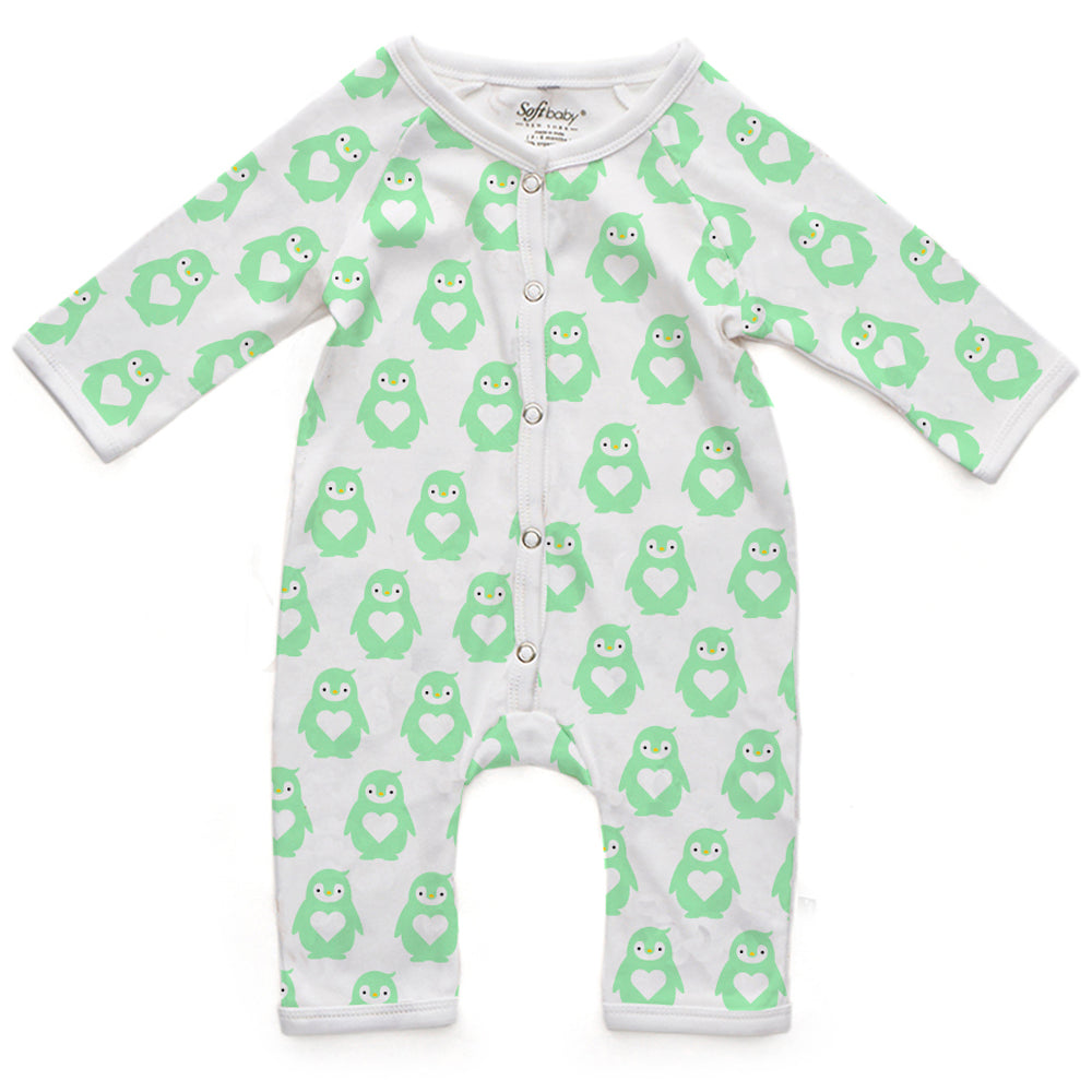 Long Romper - Mint Penguin