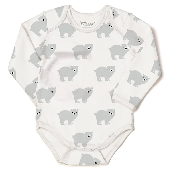 The Polar Bear in Silver Lining - L/S Onesie - 100% Organic