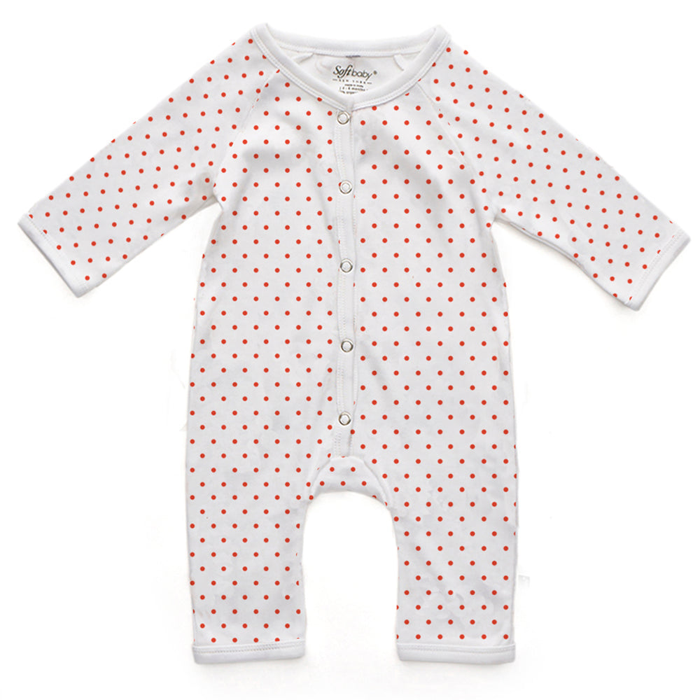 Red Polka Dots - Long Romper - 100% Organic