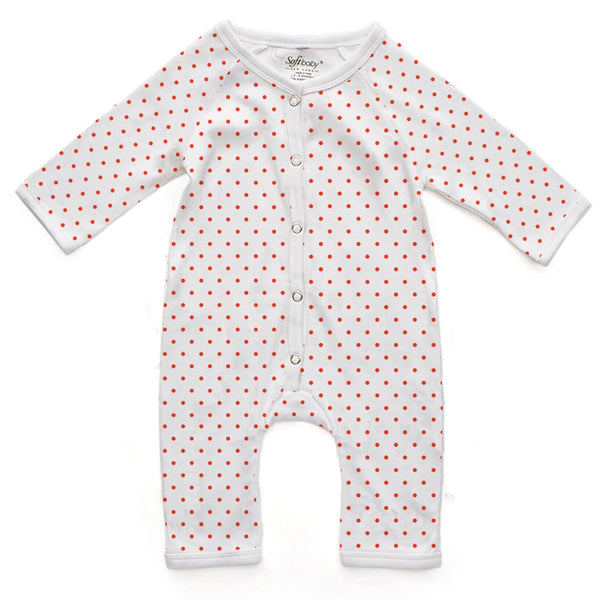 Long Romper - Red Polka