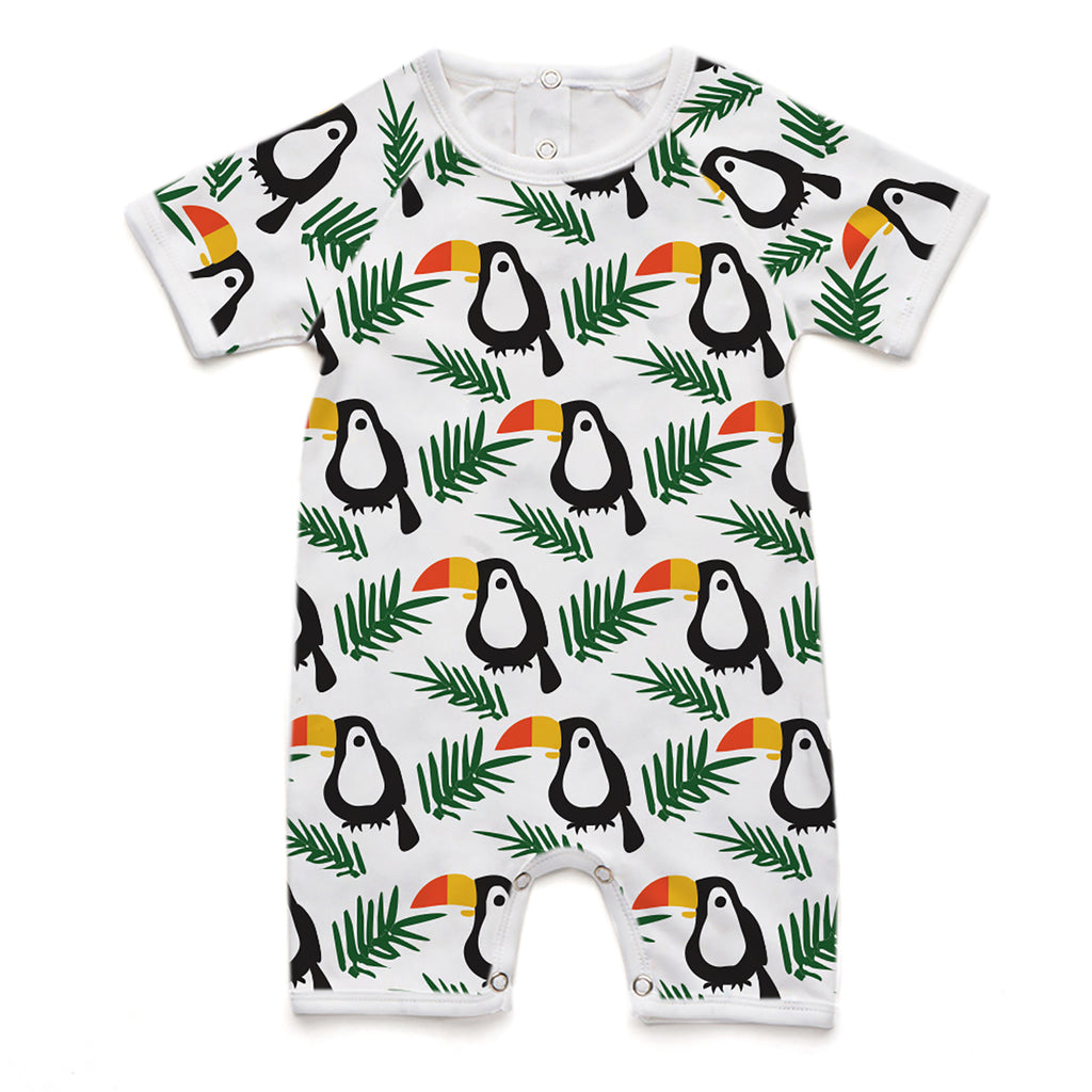 100% Organic Short Romper - Toucan and Leaves