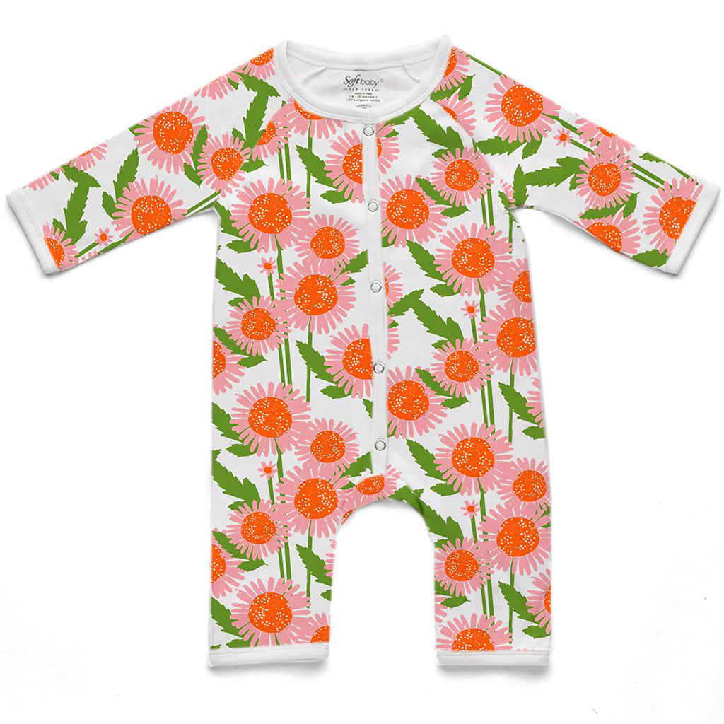 100% Organic Long Romper - Flower