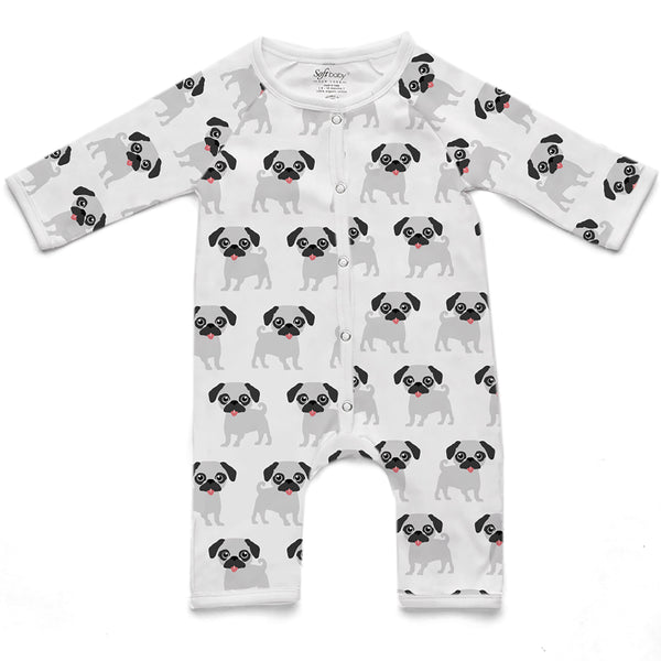 100% Organic Long Romper - Pug grey and black
