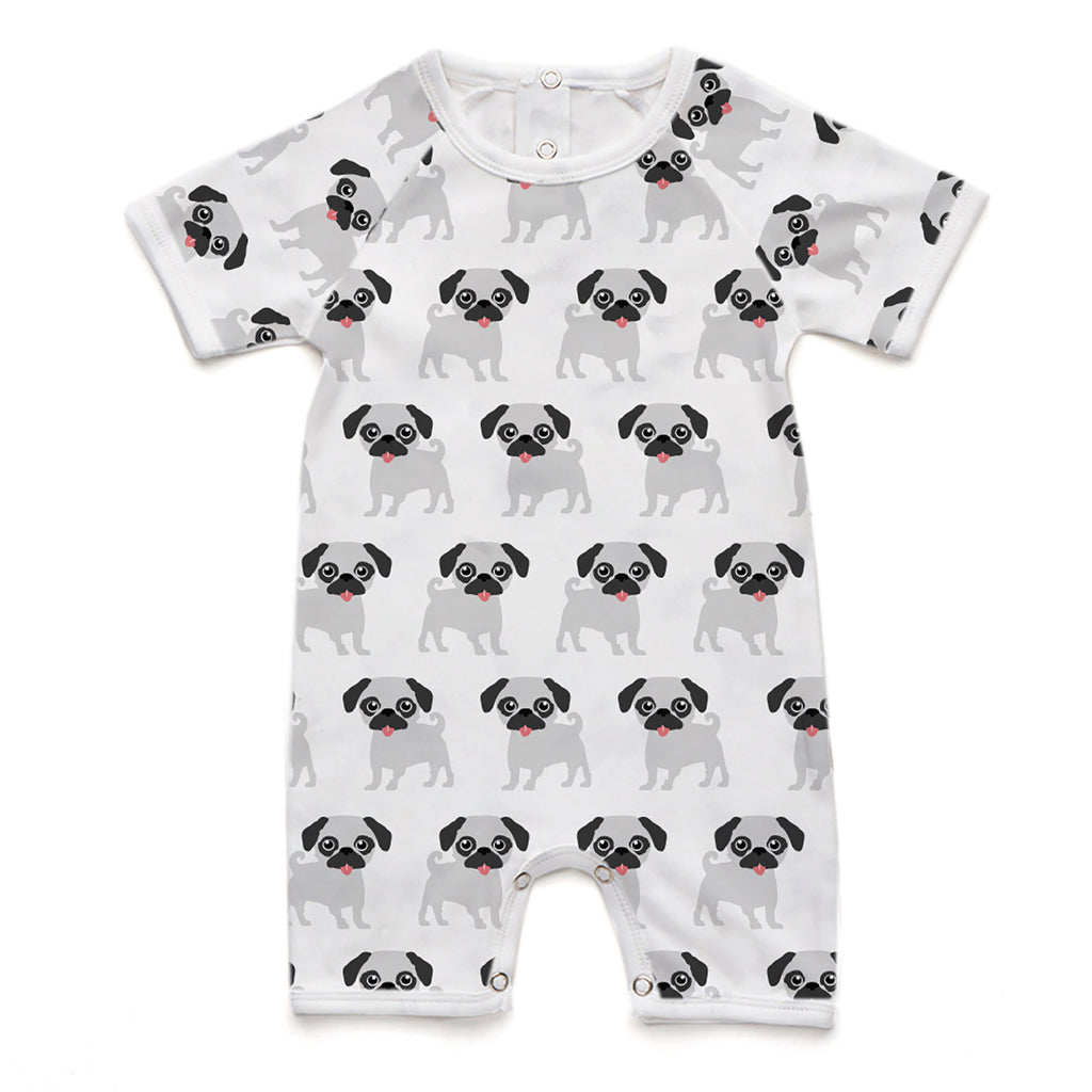 100% Organic Short Romper - Pug Grey and Black