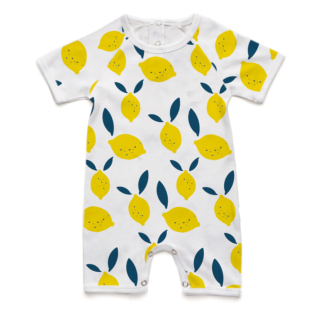 100% Organic Short Romper - Lemon