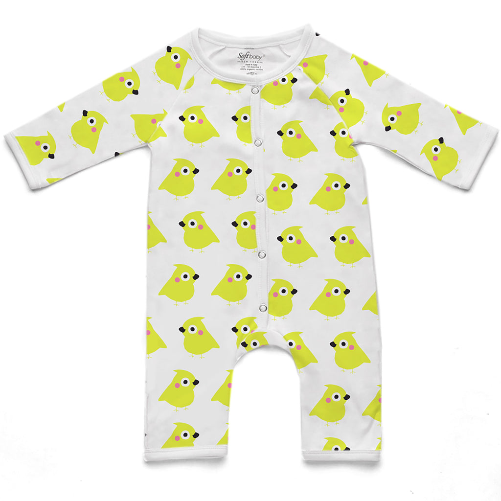 100% Organic Long Romper - Yellow Chick