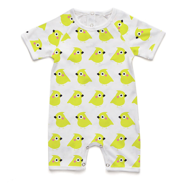100% Organic Short Romper - Yellow Chick