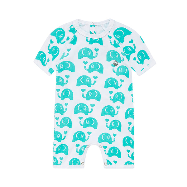 Green Elephant Short Romper