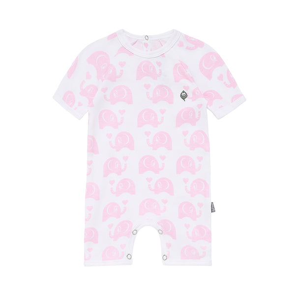 The Pink Elephant - Short Romper - 100% Organic