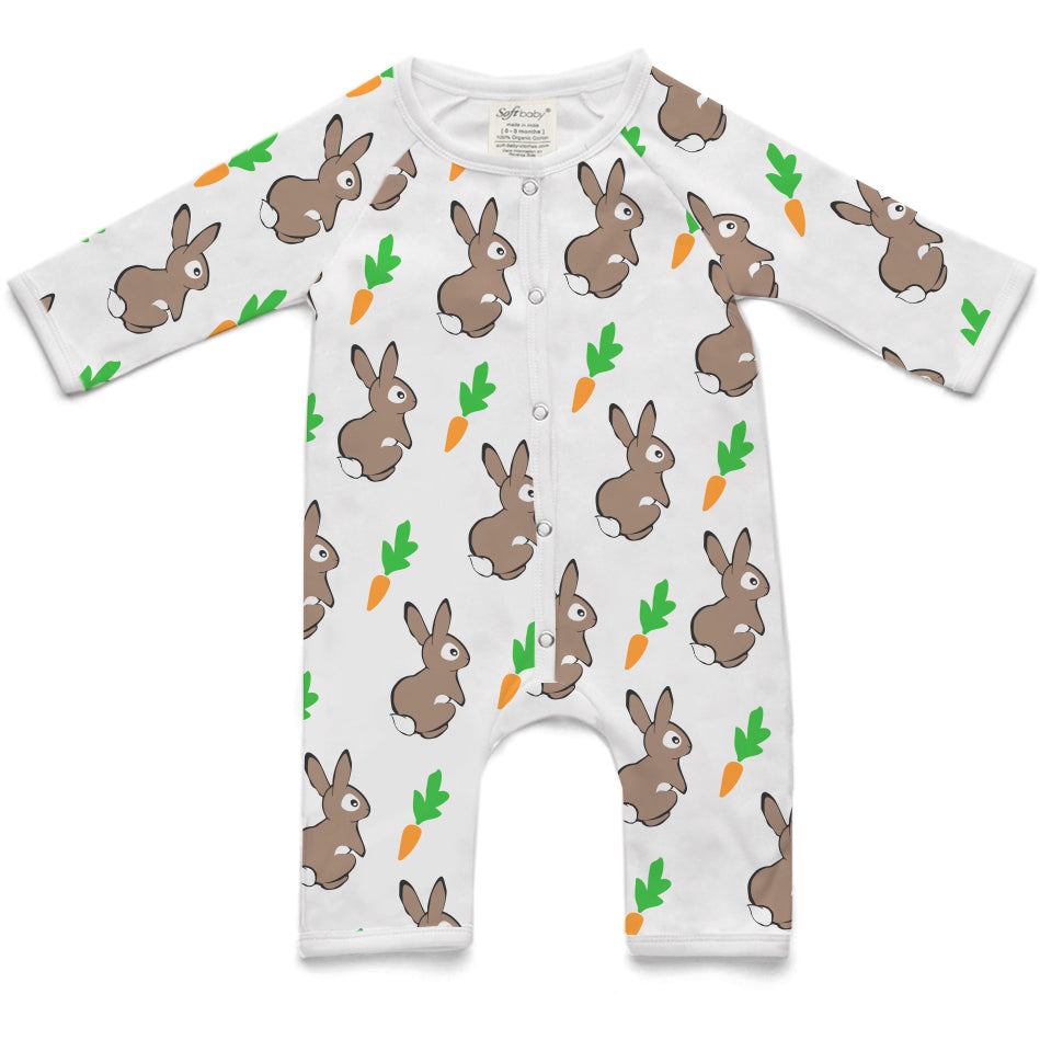 100% Organic Long Romper - Rabbit