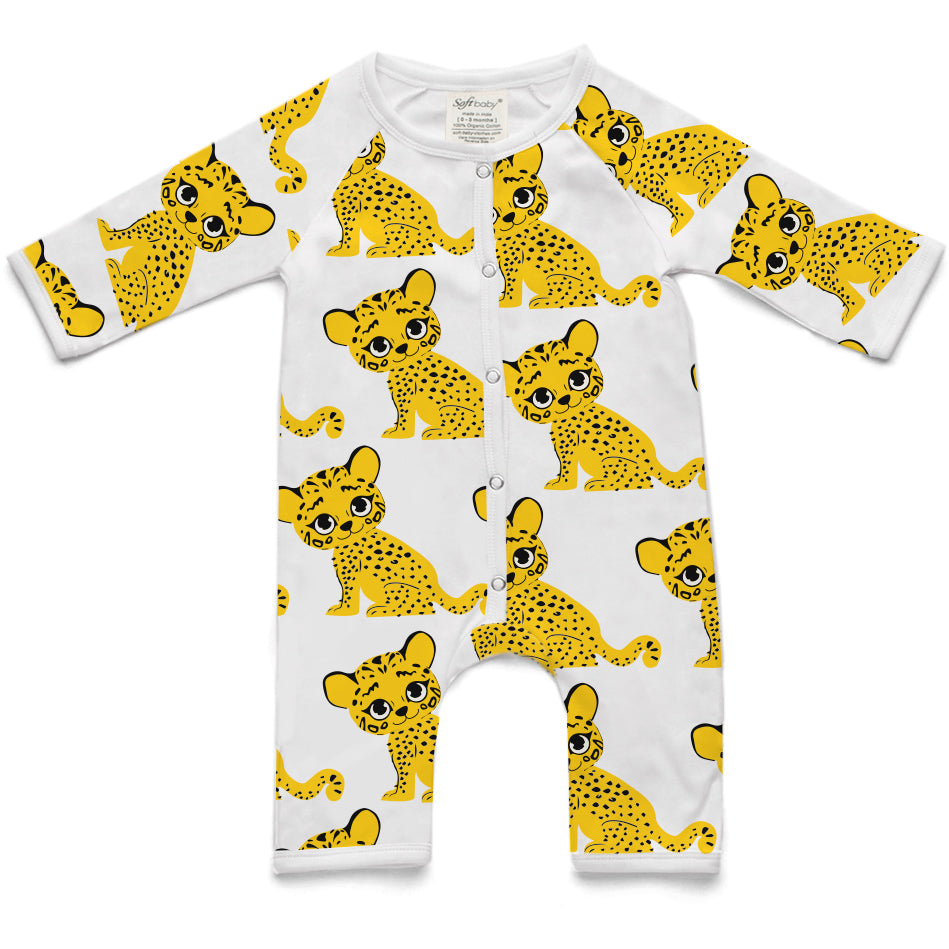 100% Organic Long Romper - Tiger