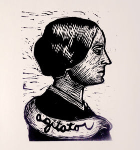 Susan B. Anthony Linocut Art Print