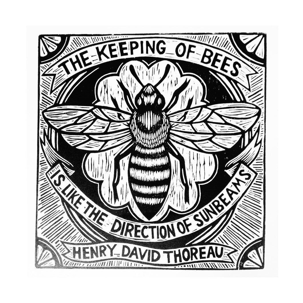 Bee Keeping Woodcut Art Print