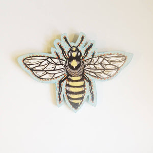 Honey Bee Art - Honey Bee Linocut Painting on Wood - Ready to Hang Art - Home Decor - Gift for Him - Gift for Her - Anniversary Gift Wood