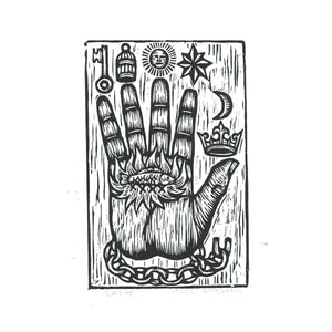 The Philosopher's Hand Woodcut Art Print - Hand of Mystery Print - Free Mason Art  - Home Decor - Woodblock Linocut Print - Occult Art
