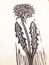 Load image into Gallery viewer, Dandelion Flower Linocut Art Print