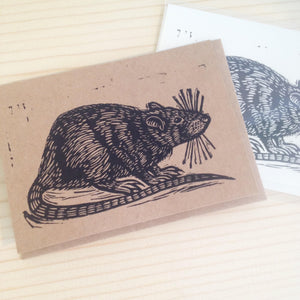 Rat Greeting Card -  Letterpress Cards - Animal Greeting Cards - Just Because - Notecards - Handmade Cards - Stationery - Paper - Rat Art