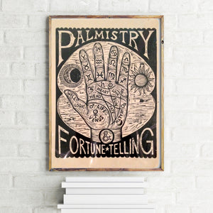 Palm Reading Woodcut Poster - Home Decor - Fortune Telling Art - Palmistry Print Art - Occult Art - Woodcuts - Prints - FREE US Shipping