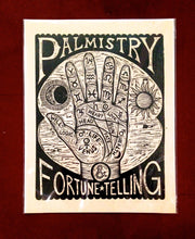 Load image into Gallery viewer, Palm Reading Woodcut Poster - Home Decor - Fortune Telling Art - Palmistry Print Art - Occult Art - Woodcuts - Prints - FREE US Shipping