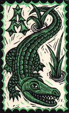 "Load image into Gallery viewer, Alligator 8.5"" x 11"" Linocut Art Print"