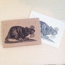 Load image into Gallery viewer, Rat Greeting Card -  Letterpress Cards - Animal Greeting Cards - Just Because - Notecards - Handmade Cards - Stationery - Paper - Rat Art
