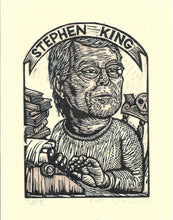 Load image into Gallery viewer, Stephen King Art Print - Linocut Print - Author Art - Literary Art - Art Prints - Lino Print - Home Decor - Reader Gift - Halloween Gift