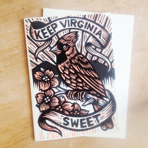 Virginia Greeting Card - Cardinal Art - Dogwood Flower - Greeting Card - Cards - Linocut Art - Letterpress Card - Virginia Pride Card