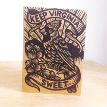 Load image into Gallery viewer, Virginia Greeting Card - Cardinal Art - Dogwood Flower - Greeting Card - Cards - Linocut Art - Letterpress Card - Virginia Pride Card