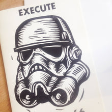 Load image into Gallery viewer, Storm Trooper Greeting Card - Star Wars Fan Art - Hand Printed Card - Just Because Card - Greeting Cards - Funny Card