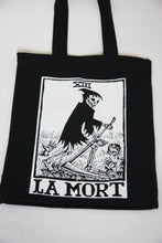 Load image into Gallery viewer, Death Tarot Black Canvas Tote Bag