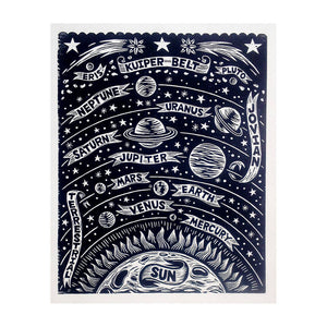 Solar System Woodcut Art Print - Astronomy Home Decor - Stars and Planets Wall Art - 18x24 Print