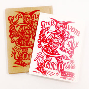 Krampus Card - Hand Printed Greeting Card - Krampus Christmas Card - Holiday Card - Krampus Party Invitation - Cards - Funny Holiday Card